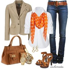 Lauren - Polyvore Love how the orange scarf makes me instantly think of fall leaves and Halloween!