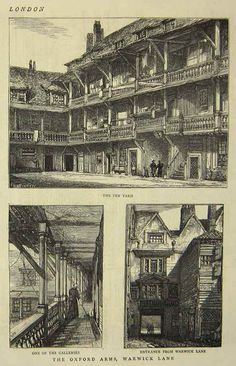 Images of one of London's old galleried coaching inns, 'The Oxford Arms' in London. Sadly, demolished in Victorian London, Vintage London, Old London, London City, London History, British History, Asian History, Tudor History, 19th Century London