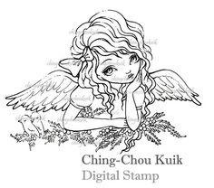 Holly Angel Digital Stamp Instant Download / Christmas от gjzcck