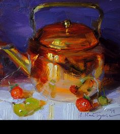 Teapot on Purple by Elena Katsyura Oil ~ 6 x 6 Hyper Realistic Paintings, Easy Paintings, Beautiful Paintings, Color Art Lessons, Gauguin, Pierre Bonnard, Mary Cassatt, Still Life Oil Painting, Copper Art
