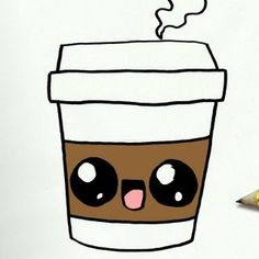Zeichnungen Einfach - How To Draw A Coffee Cute Easy Step By Step Drawing Lessons For Kids - Awesome Art Pins Easy Pencil Drawings, Cute Food Drawings, Cute Kawaii Drawings, Doodle Drawings, Drawing Sketches, Drawing Drawing, Drawing Faces, Easy Sketches, Cute Easy Animal Drawings
