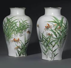 A Pair of Cloisonné Vases Mark of the Ando Workshop, Meiji Period (late century) Worked in copper wire and various coloured cloisonné enamels on a pale grey ground with crabs among reeds, silver mounts high. Gold Wire, Copper Wire, Vitreous Enamel, Painted Vases, Marine Life, Japanese Art, Metal Working, 19th Century, Workshop