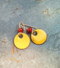 Copper Enamel Earrings Red Glass Bead by YMBlueOriginals on Etsy, $24.00