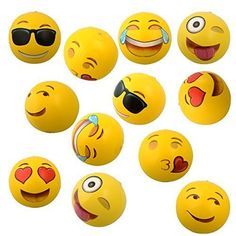 Emoji Inflatable Beach Balls - This 12 pack of emoji beach balls is the perfect summer toy and is great for any outdoor area!