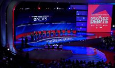 ABC News Democratic Debate Broadcast Set Design Gallery David Muir, George Stephanopoulos, Tv Set Design, Us Election, Abc News, Over The Years, Hold On, Gallery, Roof Rack