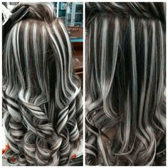 Gray Lace Frontal Wigs touch of gray shampoo – wigsshort Dark Hair With Highlights, Blonde Highlights On Dark Hair, Fall Highlights, Hair Streaks, Grey Wig, Brown Blonde Hair, Brunette Hair, Pinterest Hair, Silky Hair