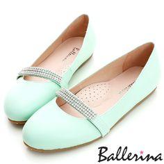 Ballerina-柔軟澎澎墊‧全真皮亮鑽帶瑪莉珍娃娃鞋-綠