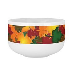 Fall Leaves Soup Bowl With Handle