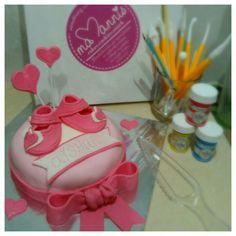 Newborn baby girl fondant cake