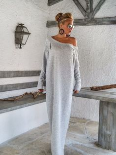 Off White Winter Wool Boucle Maxi Dress / by SynthiaCouture