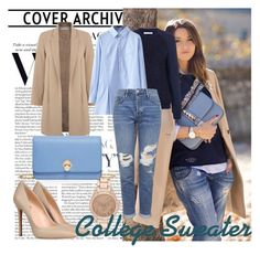 College Sweater by kristal5421 on Polyvore featuring polyvore fashion style WithChic Atea Oceanie Miss Selfridge Topshop 8 Henri Bendel River Island clothing