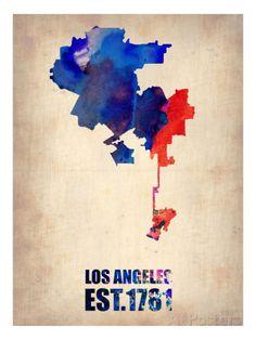 Los Angeles Watercolor Map 1 Affiches par NaxArt sur AllPosters.fr
