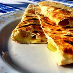 Quesadilla with cheese Brie, grapes and pecans