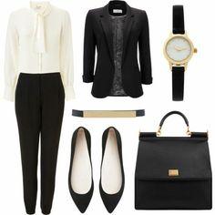 Business Mode Damen elegant schwarz weiß