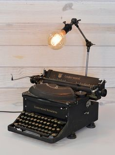 Your place to buy and sell all things handmade Antique Light Fixtures, Antique Lighting, Underwood Typewriter, Tall Lamps, Vintage Typewriters, Bar Lounge, Unique Lamps, Custom Lighting, Repurposed