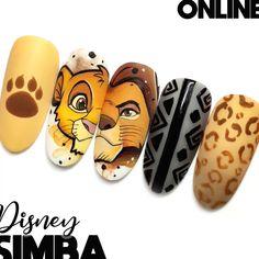 Lion King Nails, Lion Nails, Disney Acrylic Nails, Best Acrylic Nails, Disney Nails Art, Disney Halloween Nails, Cute Nails, Pretty Nails, Simple Disney Nails