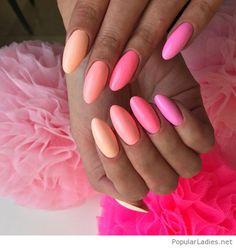 Pink to orange mani