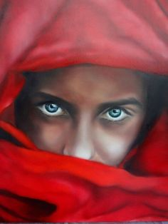 ARTFINDER: Red by Nersel zur Muehlen - HOLIDAY SALE UNTIL DEC 31ST  Oil on Linen Realistic painting of a girl in red veil with beautiful blue/green eyes.  National Geographic photograph