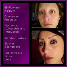 This is a beautiful transformation using Younique's BB Flawless Complexion Enhancer Creme in Bisque (formally known as Meduim), Moodstruck Minerals Concealer in Fabulous, Moodstruck Minerals Pigment Powders Vulnerable & Infatuated, Moodstruck 3D Fiber Lashes, Moodstruck Minerals Blusher in Scandalous, & Lucrative Lip Gloss in Lavish.