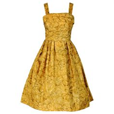 1950's Golden-Yellow Watercolor Silk Full Party Dress & Shawl (Ciolina)