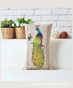 "$15   Peacock   Decorative Throw Pillow Cover   30x50cm 12""x20"" #homedecor #throwpillows #pillowcover #natureinspired #peacock #peafowl"