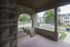 Front porch swing to watch the downtown happenings Porch Swing, Front Porch, Stone Mansion, Washington Street, Happenings, Renting A House, Indiana, Patio, Mansions