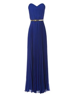 azure sweetheart pleated maxi