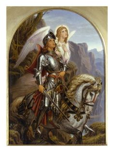 Sir Galahad and His Angel Giclee Print by Noel Paton at AllPosters.com