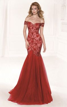 Red evening dress off shoulder top