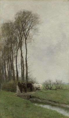 Anton Mauve - Horses at the Gate, (1878)