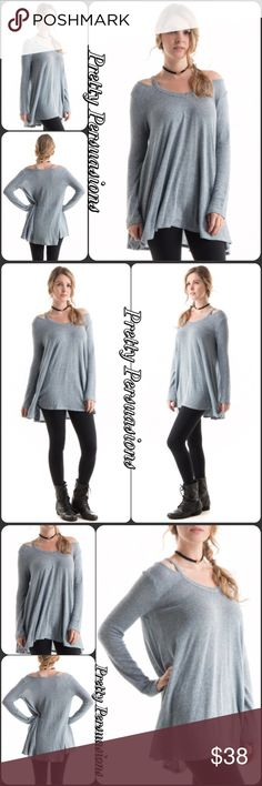 """NWT Gray Long Sleeve Cold Shoulder Slub Knit Top NWT Gray Long Sleeve Cold Shoulder Relaxed Slub Knit Top  Available in S, M, L Measurements taken from a small  Length: 31"""" Bust: 34""""  Rayon/Cotton/Spandex/Poly Blend  Features  • uber soft, breathable material w/stretch • cold shoulders • long sleeves • relaxed, easy fit  Bundle discounts available  No pp or trades  Item # 1/1011190380GLST fall winter gray slouchy cozy long sleeve top Pretty Persuasions Tops"""