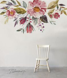 Removable wallpaper - Vintage Field Flowers Mural Wallpaper - Floral Wallpaper - Watercolor Wallpaper - Temporary Wallpaper - Wall Mural - muros y magia -