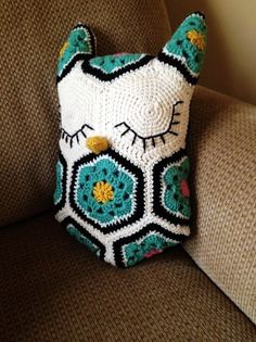 Homemade Crochet African Flower Pattern Owl Pillow - Crochet Animal, Crochet Owl, Crochet Cushion