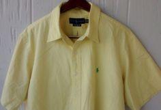 $25 free shipping Men's Custom fit Ralph Lauren Polo short sleeve shirt XXL Yellow Button Down #RalphLauren #ButtonFront