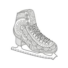 Printable Coloring Page Zentangle Figure Skating Coloring Book Letter C Coloring Pages, Sports Coloring Pages, Lego Coloring Pages, Fish Coloring Page, Pattern Coloring Pages, Adult Coloring Book Pages, Printable Coloring Pages, Coloring Books, Kids Coloring