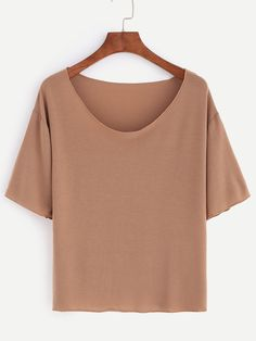 Light Brown Scoop Neck Plain T-shirt