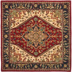 <li>Elegant update to any living room, den, or office<li>Area rug hand-tufted of 100-percent wool pile<li>Rug features traditional Heriz medallion design