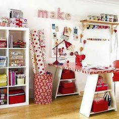Dream craft room.   I have decided I'm obsessed with RED!!   Love it.