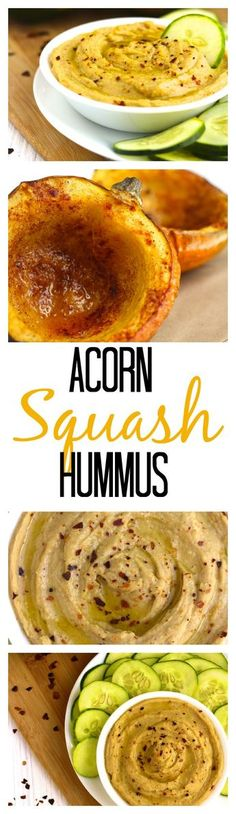 Roasted acorn squash blended with chickpeas to make the creamiest hummus ever! Vegan, Vegetarian, and low-calorie, a delicious snack that's packed with protein.