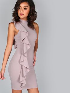 One Sided Exaggerated Frill Dress -SheIn(Sheinside)