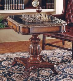 Antique Pedestal Game Table w Marble Top 30 in