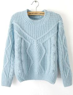 Blue Long Sleeve Twisted Ball Knit Sweater