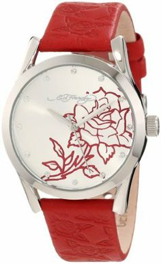 Ed Hardy Women's BS-RD Bliss Red Watch Ed Hardy. $63.99. 3-hand quartz movement. White dial with Swarovski crystal hour markers and Ed Hardy tattoo design. The perfect everyday timepiece. 18mm leather band. 36mm stainless steel case. Save 44% Off!