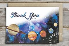 Outer Space Thank You Card Printable, Outer Space Baby Shower Birthday Party, 4x6 Space Party Thank You Card, Boy Baby Shower, Solar…