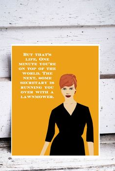 MAD MEN art JOAN holloway harris street black white Illustration 1960s style red hair curvy body quote quotes print christina hendricks blue. $20.00, via Etsy.
