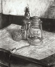 Charcoal Drawing Realistic charcoal lamp drawing - A list of still life ideas for teachers and Art students. The collection includes old favourites, as well as more unusual still life drawing topics. Drawing Topics, Drawing Studies, Drawing Ideas, Drawing Drawing, Still Life Artists, Observational Drawing, Black And White Sketches, Still Life Drawing, Draw On Photos
