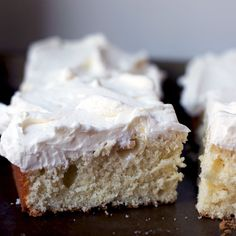 Swaths of mousse-like almond buttercream cover a delicate, almond-scented sheet cake.