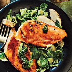 Maple-Glazed Chicken with Apple-Brussels Sprout Slaw - 300-Calorie Dinners - Cooking Light