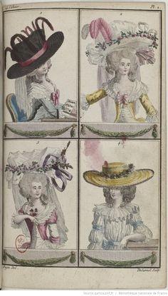 Cabinet des modes, ou les Modes nouvelles, décrites d'une manière claire & précise, & représentées par des planches en taille-douce, enluminées | 1786-06-01 | Gallica