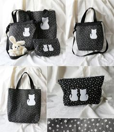a set of tote bag, zipper bag and pouch as gift for my sister Alice Rabbit, Gifts For My Sister, Zipper Bags, Pouch, Tote Bag, Purses, Handbags, Sachets, Porch